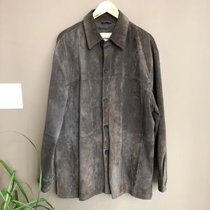 Pronto Uomo Suede Brown Leather Jacket Large